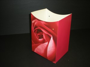 A Valentines Day flower container