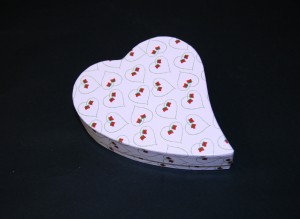 An asymmetrical heart shaped box