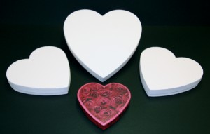 Presentation packaging, heart shaped boxes