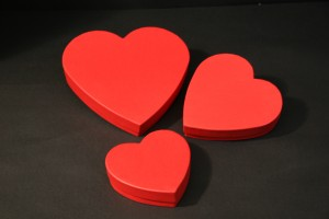 Little and large heart shaped boxes
