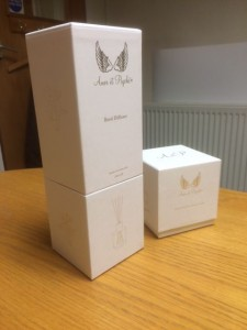 Amor et Psyche own brand Candle and Diffuser boxes (see their website to buy direct)